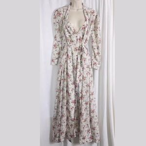 Vintage Christian Dior Floral Maxi Gown And Robe